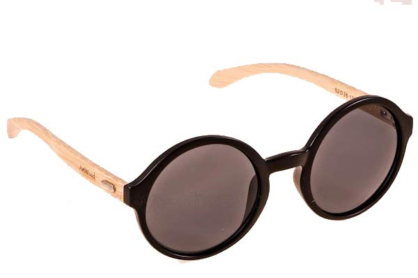 Γυαλια Ηλιου Artwood Milano Bambooline Oval MP200 Matte Black - bamboo temples Τιμή: 84,00